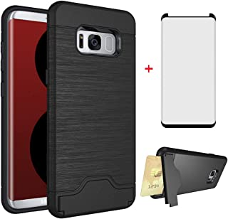 Phone Case for Samsung Galaxy S8 with Tempered Glass Screen Protector Cover and Credit Card Holder Wallet Stand Kickstand Slim Hard Hybrid Cell Accessories Glaxay S 8 8S Edge GS8 Women Men Cases Black
