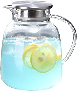 WarmCrystal, Large Glass Cold Teakettle, Pitcher and Carafe for Tea, Coffee, Lemonade and Ice Teapot (64 oz)