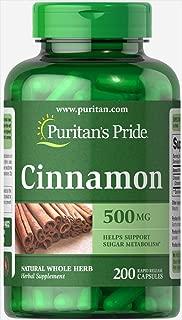 Puritans Pride Cinnamon 500 mg Capsules, 200 Count
