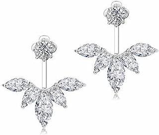 DOMILINA 18K White Gold Plated Clear Crystal Leaf Feather Ear Jacket Earrings Back Ear Cuffs Stud Earring