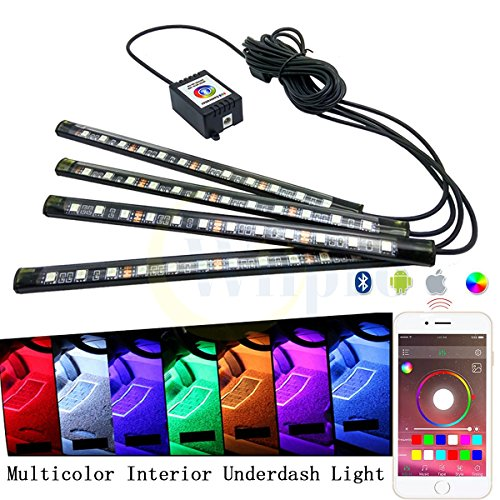 Wiipro Car Interior Underdash LED Lighting Kit - 4PCS RGB Atmosphere Floor Lights Strip with Cellphone App Bluetooth Control Music Mode for Jeep SUV Trucks Dodge Ford Harley