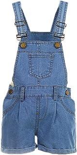Elonglin Kids Girls Boys Dungaree Shorts Denim Stretch Jeans Jumpsuit Playsuit Casual Soft Denim Overalls Rompers