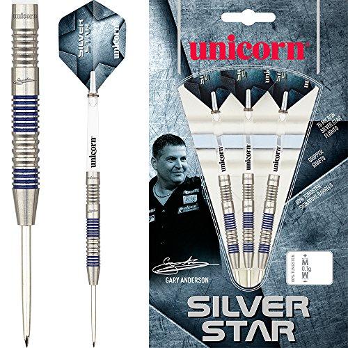 Unicorn Gary Anderson Silver Star Dartpfeile, GA2, 24 g, mit kurvigem Kugelschreiber von Darts Corner
