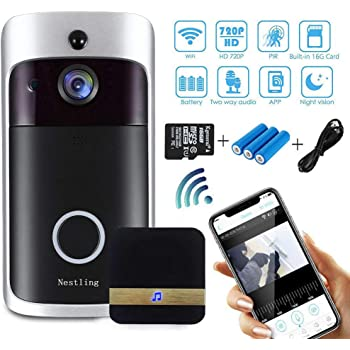 Motion Detection App Remote Control for iOS//Android Night Vision GuGio 1080P HD Wireless Video Doorbell WiFi Smart Doorbell 16G Card 166/° Wide Angle Door View Security Camera 2-Way Talk