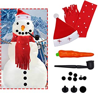 SAND MINE Snowman Decorating Kit, 14Pcs Snowman Making Kit, Winter Kids Toys Christmas Holiday Party Decoration Gift (Red)