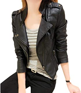 Howely Women's Slim Fitted Turn Down Collar Biker Zipper Faux Leather Jackets