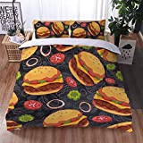 Fast food Duble Cover Set Doppio King King Cartoon Burger Patatine fritte 3D Stampa Biancheria da letto Set da letto 3 PCS Ultra Soft Microfiber Trapunta Cover con pillowcases,Ss3,260x220cm