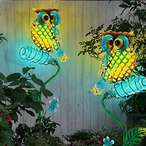 2x LED SOLAR Außen Erdspieß Steck Leuchten Eule Vogel Deko Figur Garten Lampen