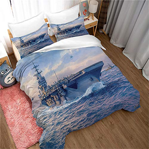 DEZEE Aircraft Carrier Weapons Military Aircraft Carrier The Army Duvet Cover Sheet and Pillowcases(Choose 4 PCS) for Single Double King Bed/Made of Ultra-Soft Microfiber (01,Double-3 PCS-200*200cm)