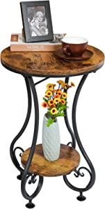 X-cosrack End Table, Round Side Table for Small Spaces, Coffee Tea Table Nightstand Home Decor for Living Room Balcony Bedroom Office,Rustic Brown & Black