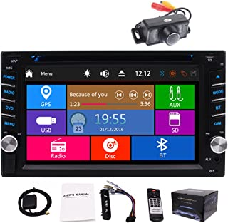 In Dash Double 2 Din Car Stereo Car CD DVD Player Bluetooth GPS Navigation System 6.2 inch Capacitive Touch Screen Auto Radio Headunit FM AM MP3 USB SD Video Car GPS Stereos Free Backup Camera Map Car
