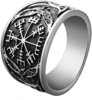 Vintage Compass Ring Viking Vegvísir Ring Women Men Pagan Jewelry