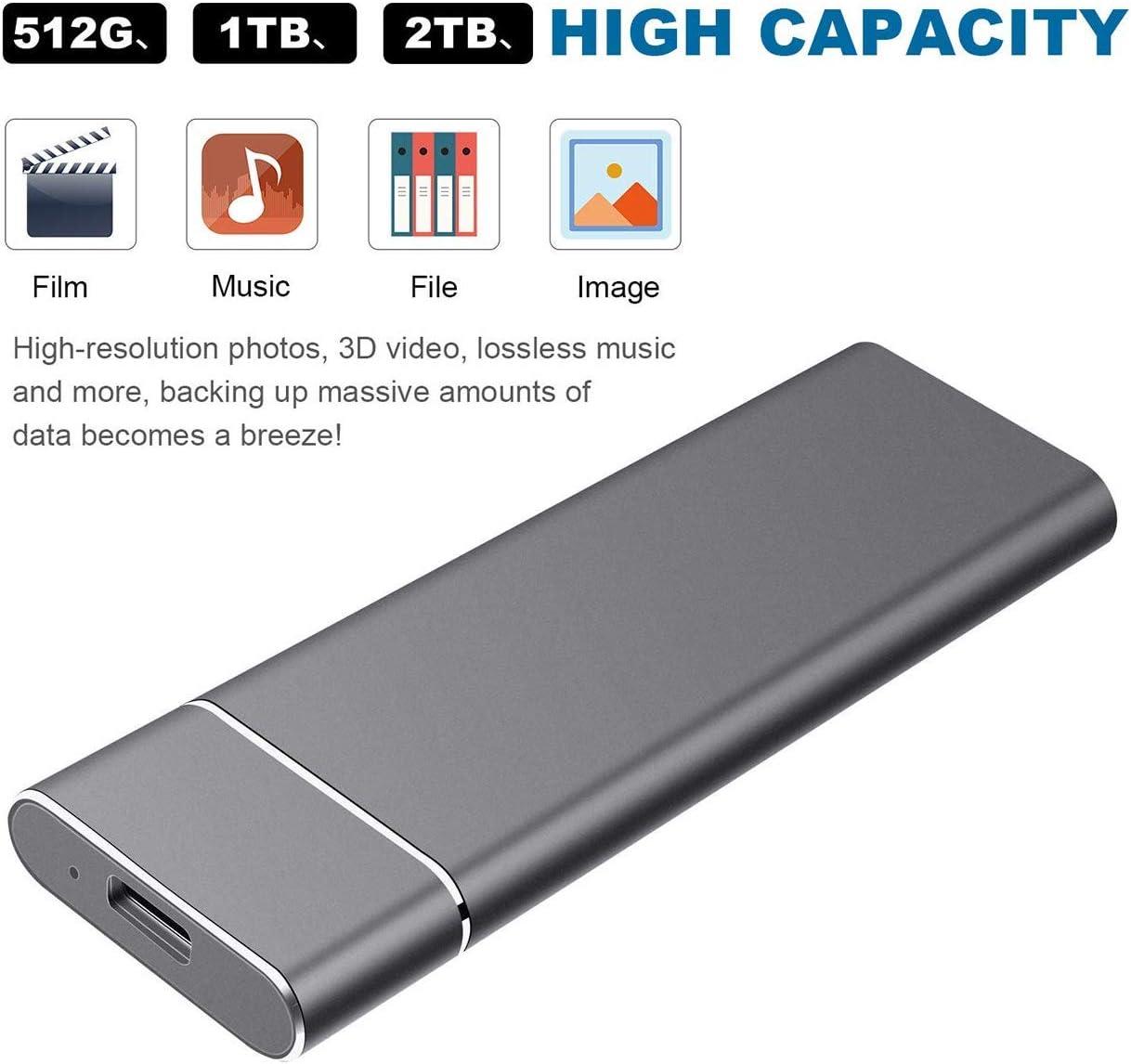 laptop e PC disco rigido ultra sottile Disco rigido esterno USB 3.1 compatibile con Mac Disco rigido esterno da 2 TB Disco rigido esterno portatile desktop 2TB, Silver