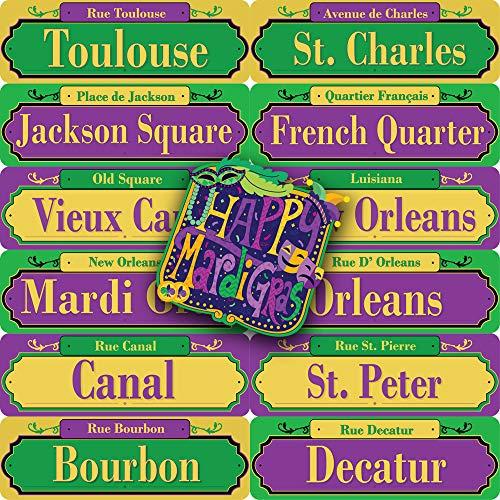 JOYIN 13-Count Mardi Gras PVC Street Road Signs and Cutout Party Decor Set