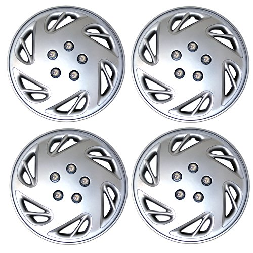 Tuningpros WC3-15-9054-S - Pack of 4 Hubcaps - 15-Inches Style Snap-On (Pop-On) Type Metallic Silver Wheel Covers Hub-caps