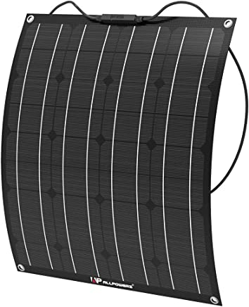 ALLPOWERS 50W 18V 12V Flexible Solar Panel Charger(with ETFE Layer, MC4 connectors) Semi Bendable Water-Resistant Solar Charger for RV, Boat, Cabin, Tent, Car, Trailer, Other Off Grid Applications