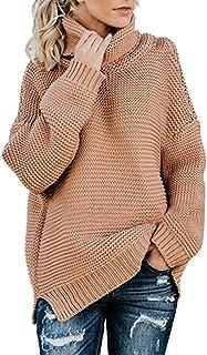 YTZL Gebreide trui voor dames, oversized, grof gebreid, coltrui, effen, coltrui, sweater met lange mouwen, vintage, winte...