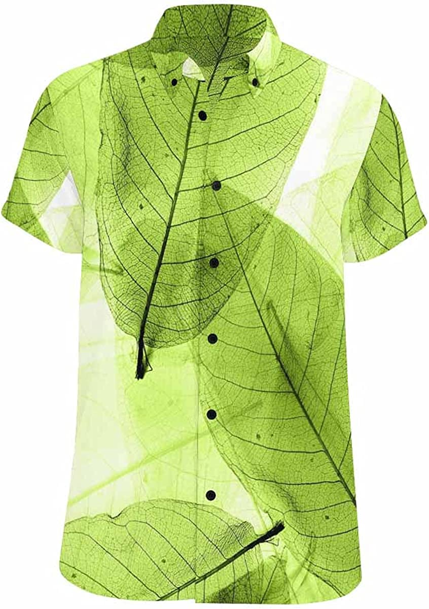 InterestPrint Green Popularity Leaves Pattern Hawaiian S Men's All stores are sold Short-Sleeve