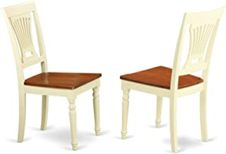 East West Furniture Kitchen/Dining Chair Set Wood Seat, Buttermilk/Cherry Finish, Set of 2