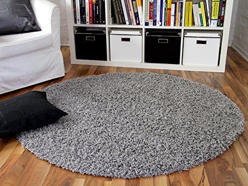 ALOHA Hochflor Langflor Shaggy Teppich Grau Rund - Sofort Lieferbar in 4 Größen