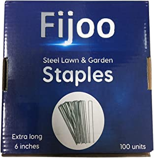 Garden Landscape Staples - 100 Professional 6-Inch Stakes Best for Yard, Sod, Weed Barrier Fabric, Soaker Hose, Lawn Dripper, Irrigation Tubing - U Pin Chain Link Fence - Heavy Duty 11 Gauge Steel