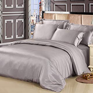 LilySilk 4Pcs Washable Silk Sheets Full Bedding 19 Momme Raw Silk- Flat Sheet Fitted Sheet Oxford Pillowcases Silvergray