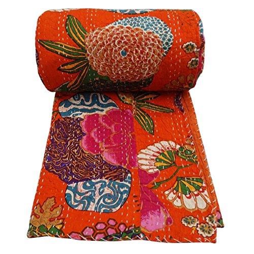 Couvre-lit réversible vintage de Bhagyoday - Motif Kantha - Fait main - En coton indien - 228,6 x 274,3 cm