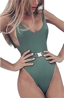 FEIYOUNG Sexy Womens Monokini Scoop Neck One Piece Backless Cheeky Swimwear Semi Thong Bikini with Belt