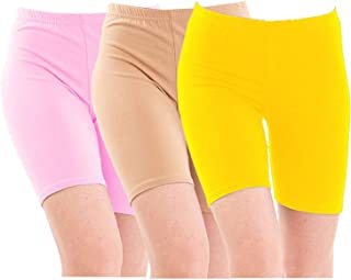 Pixie Biowashed 220 GSM Cotton Lycra Cycling Shorts for Girls/Women/Ladies Combo (Pack of 3) Baby Pink and Yellow - Free Size