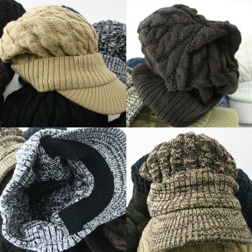 『cielhat(シエルハット) ツバ付き細ケーブルニット帽子ジープ 男女兼用 メンズ レディース ブラック×グレー』の8枚目の画像