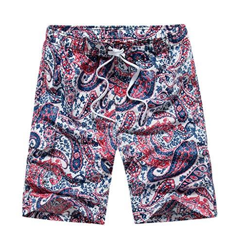 UJUNAOR 2019 Sommer Herren Badeshorts/Badehose Mode im ethnischen Stil Print Surfen Trunks Hosen für Männer Strandhosen Schnelltrocknend Unterwäsche(Rot,XX-Large)