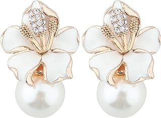 Mecool Pendientes de gota con diseño de pétalos y perlas de imitación, con incrustaciones de circonitas esmaltadas, color ...