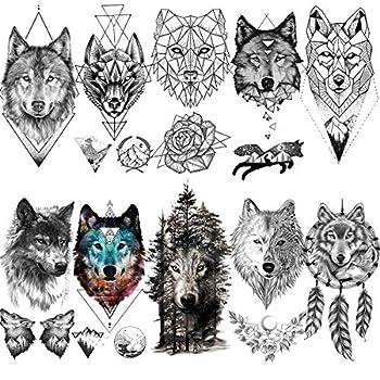 VANTATY 10 Sheets Cool Geometric Wolf Animals King Black Temporary Tattoos For Women Girl Teens Fake Body Line Art Arm Forest Mountain Lion Coyote Men Tattoo Sticker Kids Forearm Style Armband Tatoos