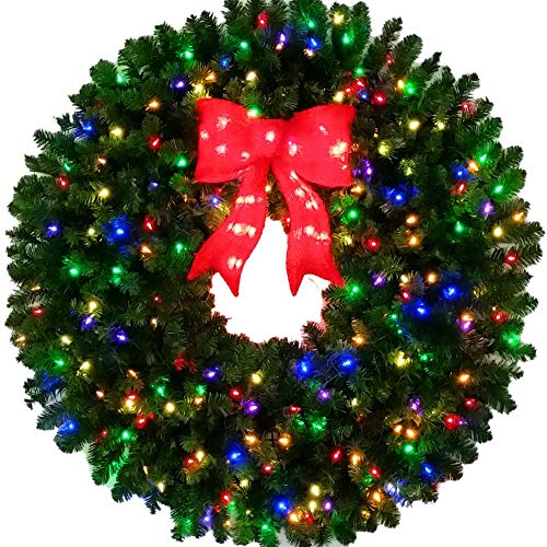 4 Foot Incandescent Multi Color Christmas Wreath with Large Red Bow - 48 inch - 200 UL Certified Lights - Indoor - Outdoor