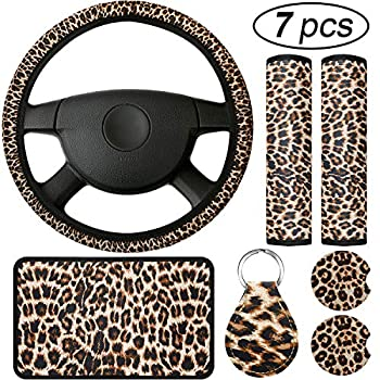 7 Pieces Leopard Print Car Accessories Set Leopard Steering Wheel Cover Leopard Car Coasters Leopard Keyring Armrest Pad Cover and Seat Belt Pads for Most Cars