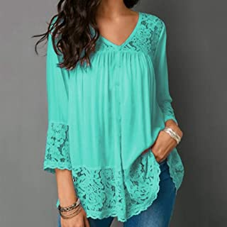 QGTCLOTHING Lace Stitching Shirt V-neck Cropped Sleeve T-shirt, Size:S(White) (Color : Green, Size : 4XL)