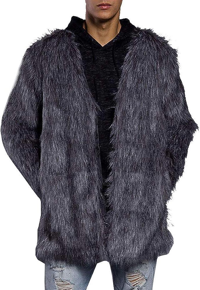 LIYT Men's Faux Fur Coat Warm Long Coat Lapel Overcoat Thick Outerwear Winter Jacket
