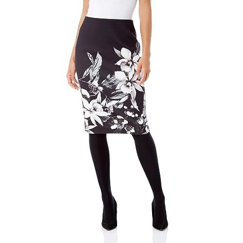 81dd7fd531 Roman Originals Women Floral Print Pencil Skirt - Ladies Knee Length Soft  Stretch Feminine Classic Chic
