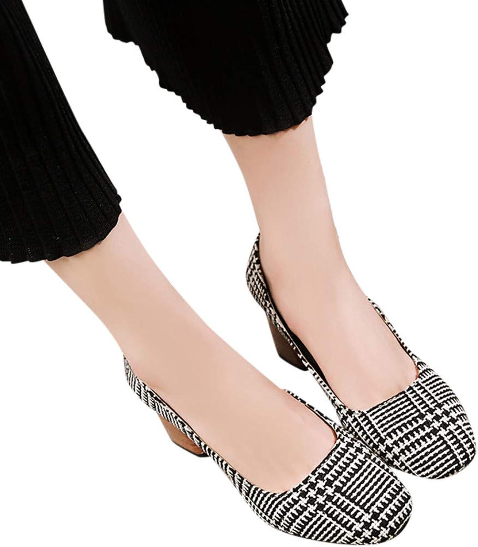 Fheaven Women's Loafers Slip on Shallow Mouth High Heel shoes Vintage shoes Plaid Dress Pump (5, Black)