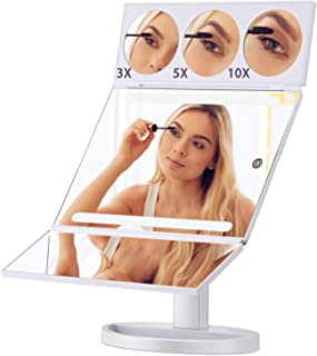 XLarge Led Mirror, Magicfly 19.2inch 28 LED Lighted Vanity Mirror with 10X/5X/3X Magnification, Hollywood Style Trifold Mirror with Touch Screen & 360°Rotation, White
