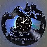SEEKSUNG Vinyl Wanduhr, Hogwarts Express Zug Thema Design, Home Wohnzimmer Wanddekoration große Wanduhr mit 7 bunten Lichtern