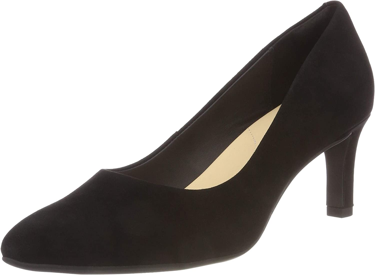 Clarks Calla Rose Black Suede Leather Womens Shoes Slip Same Max 69% OFF day shipping Court On