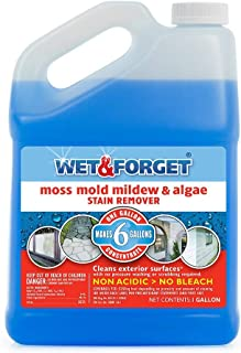 Wet and Forget Moss, Mold, Mildew & Algae Stain Remover, 1 Gallon Concentrate Make 6 Gallons - 4 Pack