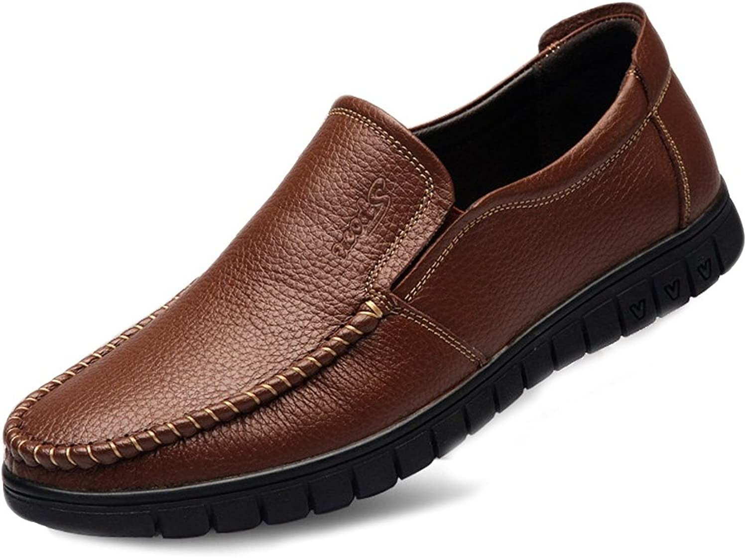 CHENXD shoes, Men's Classic Genuine Leather shoes Slip-on Flat Soft Sole Loafer (Perforation Optional)