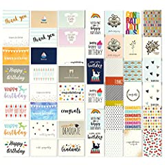 BULK BOX SET: 48 pack of all-occasion greeting cards featuring an assortment of 48 fun and colorful illustrations. Pack includes 2x Wedding Congratulations Cards, 4x Baby Shower Cards, 4x Sympathy Cards, 8x Congratulatory Cards, 6x Blank Cards, 8x Th...