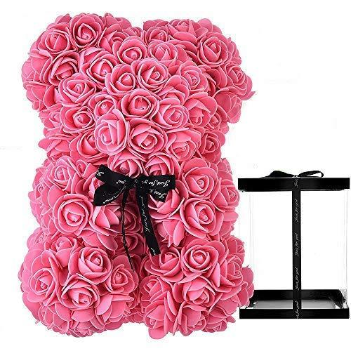 HelaCueil - Oso de peluche rosa en caja de regalo, 25 cm, regalo de Navidad, San Valentín, color rosa