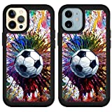 OptiCase iPhone 12 Case, iPhone 12 Pro Case - Vintage Soccer Splatter Printed Designer Hybrid Case - Unique Shockproof Heavy Duty Protection iPhone 12 Case/iPhone 12 Pro Case [6.1']