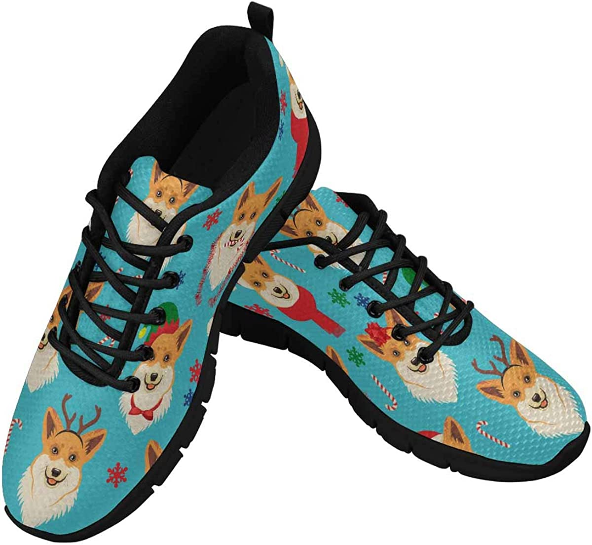 InterestPrint Christmas Pattern with Corgis Women's Lightweight Athletic Casual Gym Sneakers