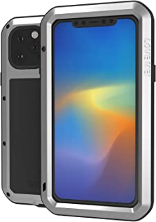 LOVE MEI Case for iPhone 11 Pro Max 6.5 Inch 2019 Release with Scratch Proof Tempered Glass Screen Protector Full Body Shockproof Wireless Charging Heavy Duty Case (Silver)