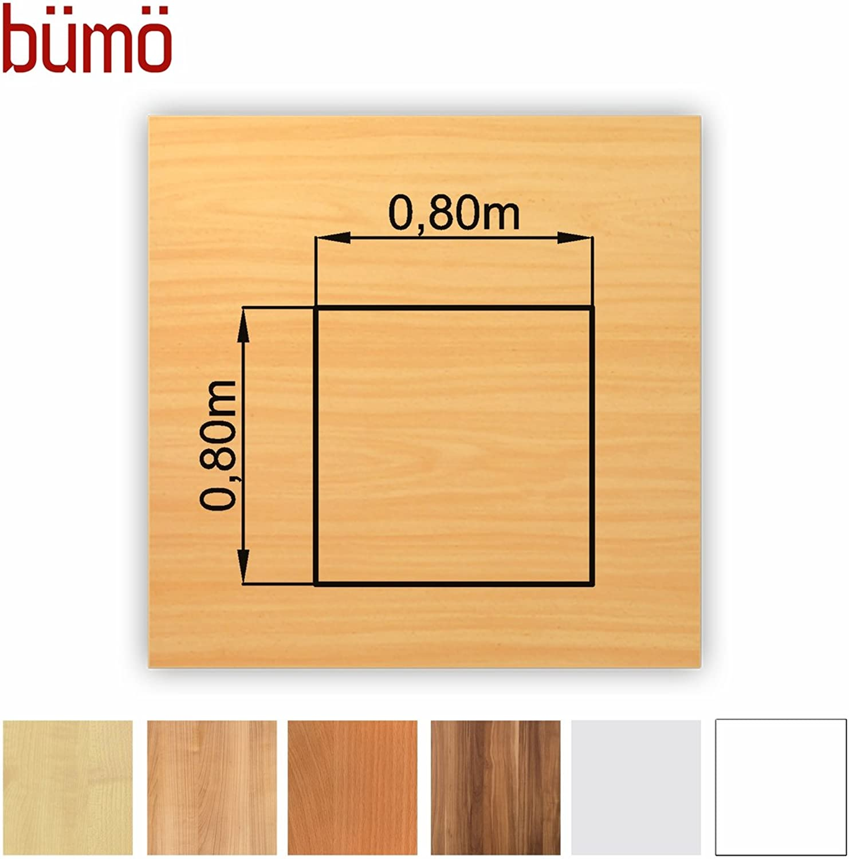 Büm stabile Tischplatte 2,5 cm stark - DIY Schreibtischplatte aus Holz  Bürotischplatte belastbar mit 120 kg  Spanholzplatte in vielen Formen & Dekoren Platte für Büro, Tisch & mehr (Quadrat  80 x 80 cm, Buche)